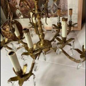 Antique Spanish brass crystal chandelier